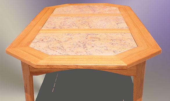 Terrassentisch, gefertigt in Eiche und Granit