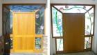Entrance door with decorative windows