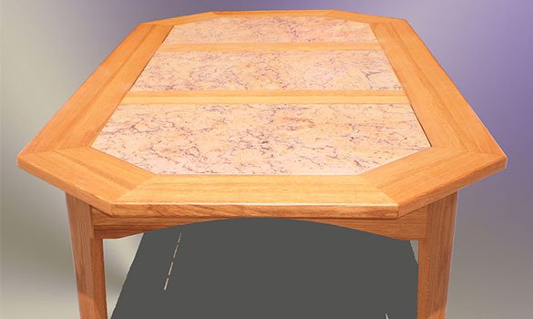 Patio table, manufactured in oak and granite